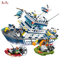 869pcs Police Patrol Boat Helicopter Building Blocks Compatible Legoed Technic City Military Air Force Plane Bricks Toys For Kid