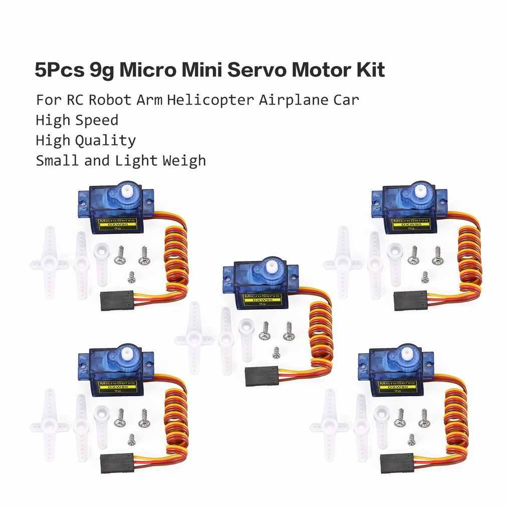 ¡Caliente! DXW 90 5 unids/lote 9g Micro Mini Servo Motor cuernos para SG90 RC Robot brazo helicóptero Foamy avión Coche piezas de RC de repuesto de barco de juguete