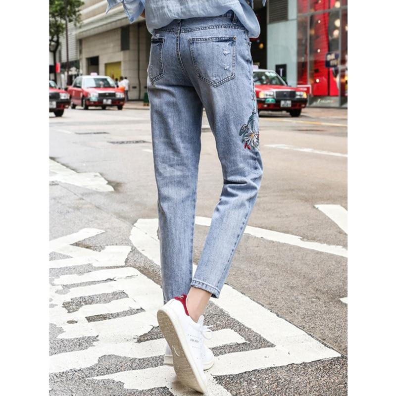 Clair Rue 2018 Pantalon Haute Bleu Broderie Cheville Taille Chaude Blue Femelle Femmes Casual Coréenne De longueur Denim Crayon Jeans Harem Light EEpfWq