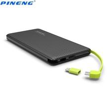 Original pineng pn 951 potencia bank10000mah dual usb integrado cable de carga del cargador de batería externa para iphone 6 s xiaomi android