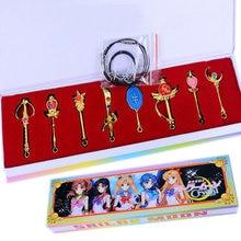 8pcs Anime Cosplay Gold Silver Sailor Moon Pretty Guardian Tsukino Usagi Keychain Necklace Weapons Pendant Unisex pretty guardian sailor moon crystal original bandai tamashii nations figuarts zero exclusive collection figure sailor saturn