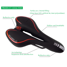 3 Colors GEL Reflective Shock Absorbing Hollow Bicycle Saddle PVC Fabric