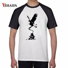2019 Summer T-shirt Ink Eagle 3D Print Animal T Shirt Men and Women Casual Harajuku White T-shirts Cotton Unisex Tops
