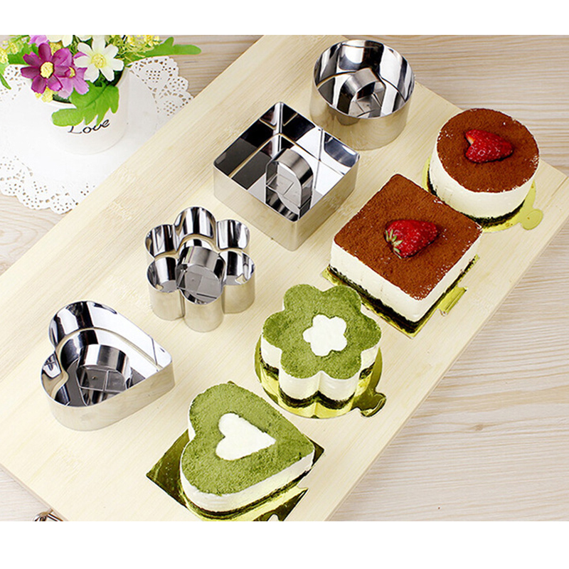 <font><b>Stainless</b></font> <font><b>steel</b></font> small mousse ring cake tool <font><b>cheese</b></font> cake <font><b>mold</b></font> biscuit cutting <font><b>mold</b></font> square heart-shaped baking tool image