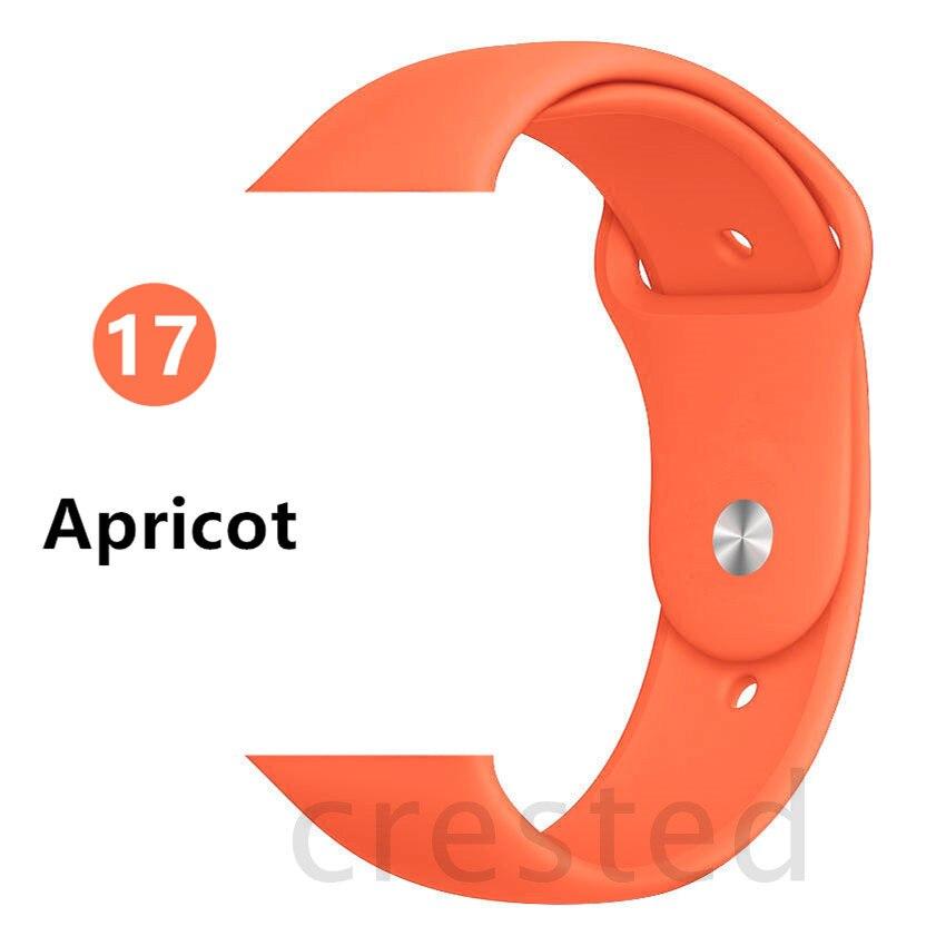 Силиконовый ремешок для apple watch 4 5 44 мм/40 мм спортивный ремешки для apple watch 3 42 мм/38 мм резиновый ремень браслет ремешок для часов apple watch Band Мягкий красочный ремешок iwatch series 4 3 2 1 - Цвет ремешка: Apricot