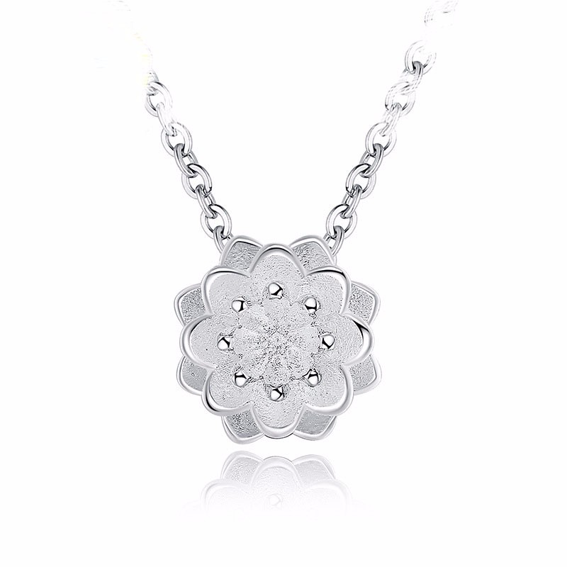 JEXXI Discount Brand Shiny Lotus Design 925 Sterling Silver Pendant Necklace For Women Girl Wedding Jewelry Gift Wholesale