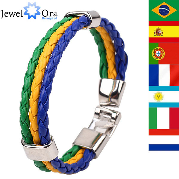 2014 World Cup Theme Bacelets-Bangles Fashion Jewelry Sporty PU Leather Bracelet For Men and Women (JewelOra BA101089)
