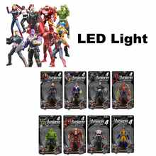 LED Action Figures Avengers 4:Endgame Captain Spiderman Ironman Thor Thanos PVC Electronic