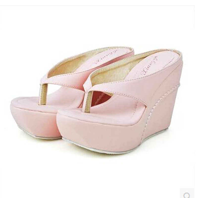 Plus Size 33-45 New 2014 Women Wedges Sandals Summer Platform High-Heeled Open Toe Sandal Flip Flop Slippers Gladiator Shoe - Begin of shoes store
