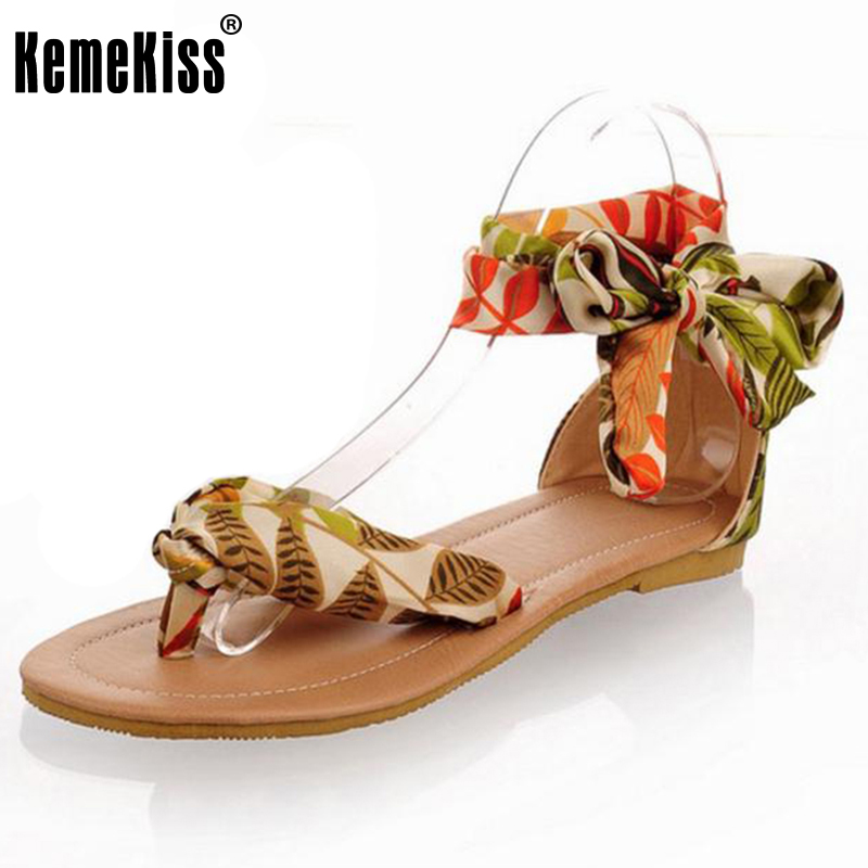 Women Summer T strap colorful Sandals Beach Flat Heel Sandals Woman's Shoes Ribbon Sweet Ladies Leisure shoes size 34-43 2016 fashion summer women flat beaded bohemia ppen toe flat heel sweet women students beach sandals o643