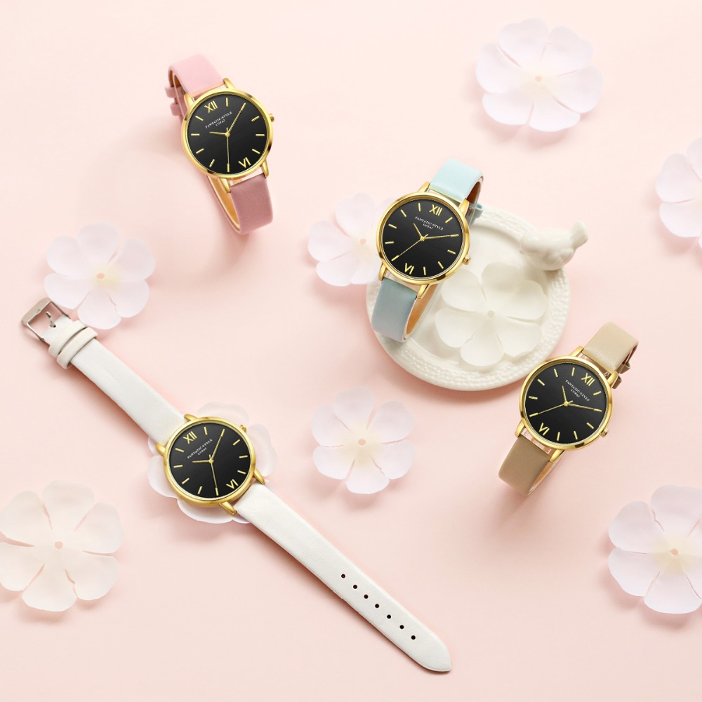Black Leather Rose Gold Women WristWatches   4