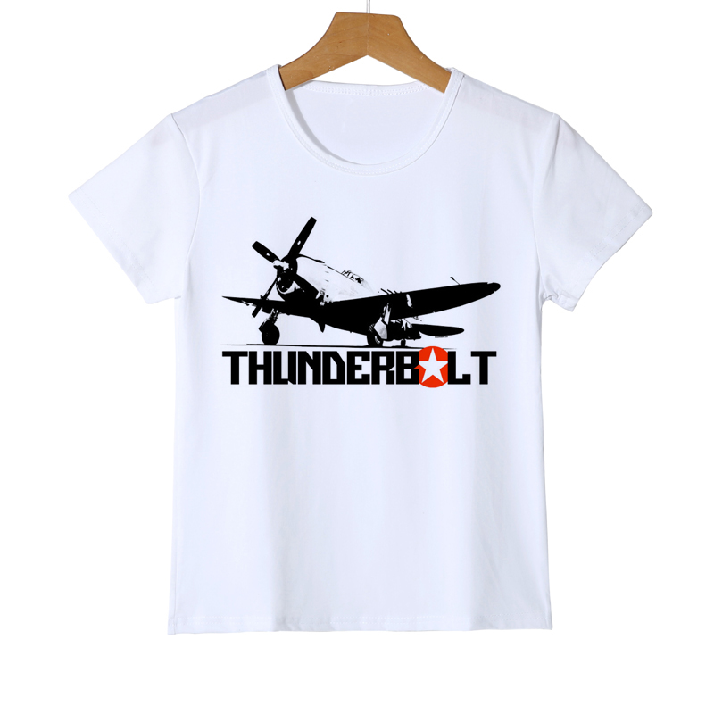 Kids Thunderbolt Aircraft T-shirt Boy's Airplane Summer Girls Custom Short Sleeve Baby Holiday Gifts T Shirts Z32-2 Suitable For Men And Women Of All Ages In All Seasons