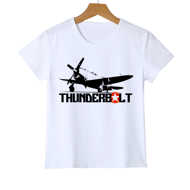 bffbfe278 Kids Thunderbolt Aircraft T-shirt Boy's Airplane Summer Girls Custom Short  Sleeve Baby Holiday Gifts