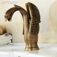 OUYASHI Luxury Bathroom Basin Faucets low Swan Faucets Deck mounted water tap free shipping high grade luxury animal swan style faucets bathroom basin mixer tap noble gorgeous swan sink hydrant promotion