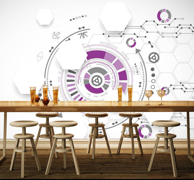 3D purple Restaurant Hotel bar large mural theme KTV bar restaurant cafe personalized custom vintage 3D wallpaper large mural wallpaper wallpaper ktv theme hotel restaurant 3d d poster three shark underwater world