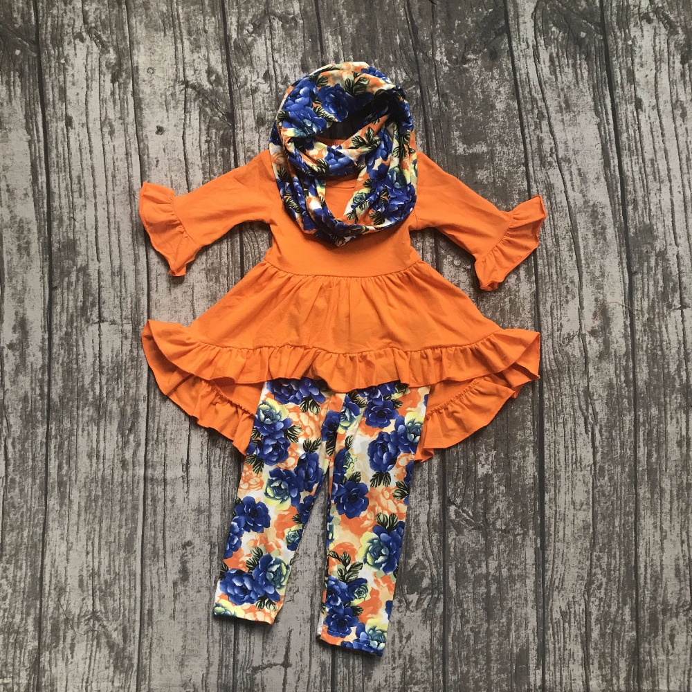 baby Girls Fall and Winter 3 pieces with scarf clothes girls children orange dress top with