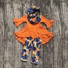 Bébé Filles Automne et D'hiver 3 pièces avec écharpe vêtements filles enfants orange robe top avec floral lait soie floral pantalon ensembles