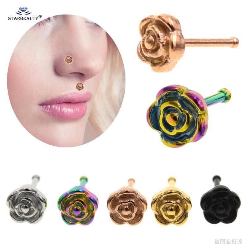 1pc I Shape 0 8x7mm Rose Gold Nose Ring Stud Nose Piercing Labret
