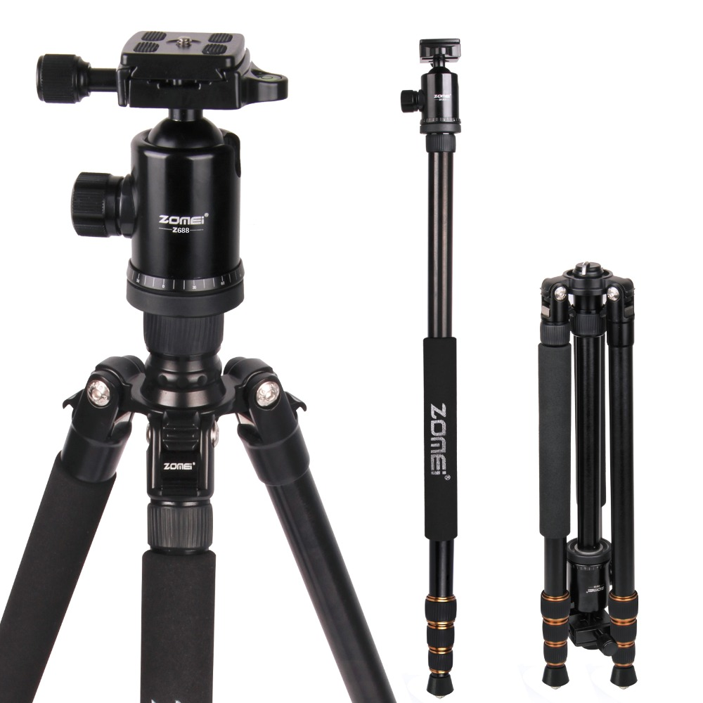Zomei Z688 Professional Photographic Travel Compact Aluminum Heavy Duty Tripod Monopod&Ball Head for Digital DSLR Camera zomei z688 aluminum portable tripod monopod with ball head photographic travel compact for digital slr dslr camera stand