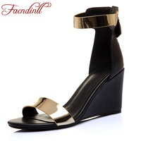 FACNDINLL High Quality Summer Gladiator Sandals Shoes For Women Wedges High Heel Punk Style Shoes Woman