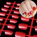 Medio Plano Caramelo Puntas de Las Uñas Falsas Uñas Postizas Magnífico Rojo Oscuro 24 unids Kit Brillante Superficie de Prensa En Las Uñas 089