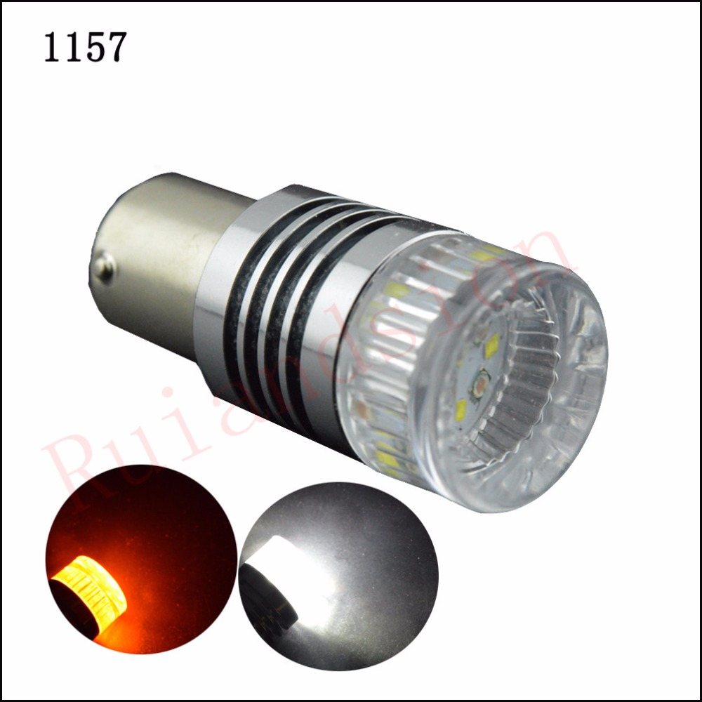 2Pcs High Power 1157 BAY15D P21/5W T20 7440 3157 Switchback Dual Color White and Amber XBD 30W LED Tail Brake Bulbs 12V-24V DC high quality white color ptfe teflon gasket d t w 100 2 5mm