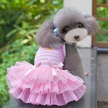 Female Puppy Dogs' Bowknot Duck Stripes Princess Dress Dog Camisole Gauze Skirt
