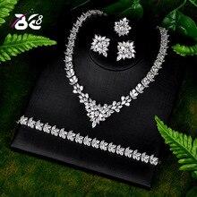 Be 8 nouveaux ensembles de Bijoux de mariage de mode AAA CZ pierre boucles doreilles de mariée collier ensemble de Bijoux africains Parure Bijoux Femme S105