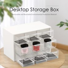 9 Lattice Plastic Storage Box Transparent Debris Cabinets Portable Drawer Sorting Grid Desktop Office And Hom Supply Detachable(China)