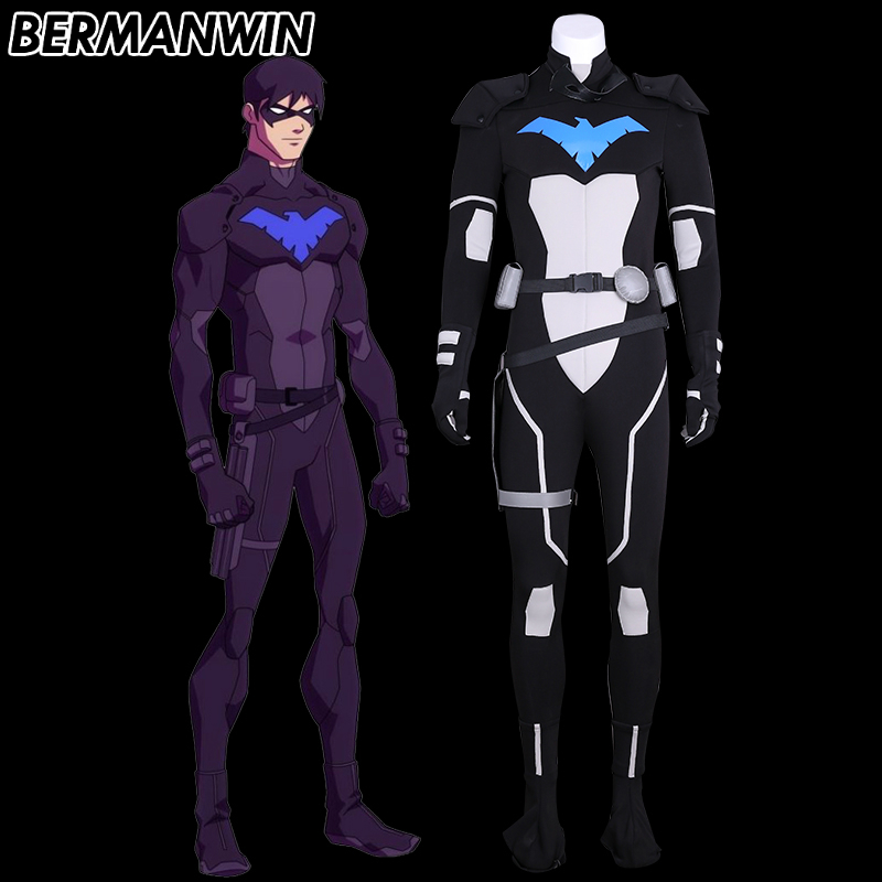 BERMANWIN High Quality Young Justice nightwing Costume Full Set Adult Men night wing Robin Halloween Cosplay Costume