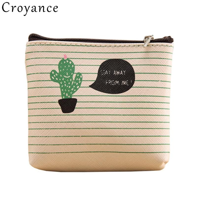Girls Cartoon Cactus Bag Mini Key Ring Waterproof Wallet Leather Coin Purse