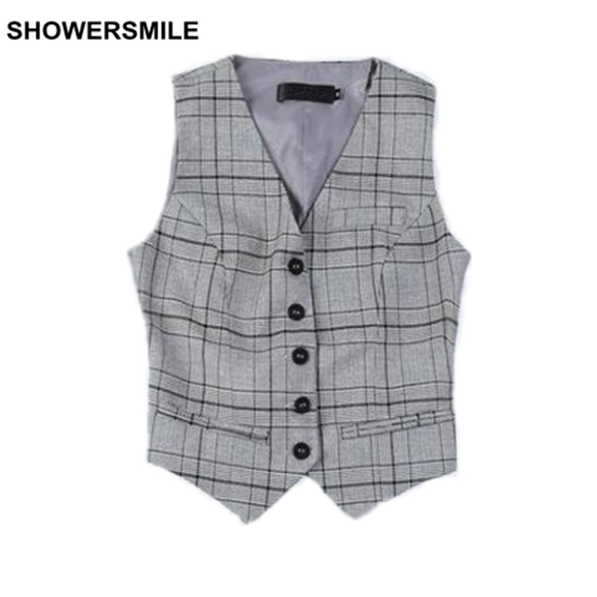 SHOWERSMILE Brand Womens Plaid Vest Working Suit Vest Styles Gray Coffee Spring Waistcoat Fashion Short Ladies Sleeveless Jacket