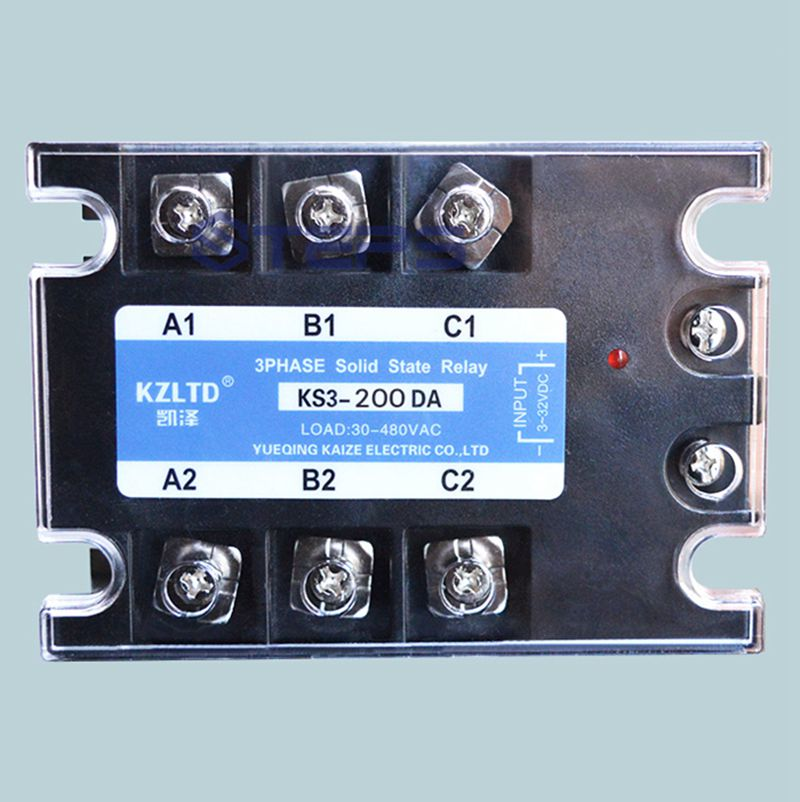 Three-phase solid state relay 200A DC to AC solid state AC contactor new and original sa366200d sa3 66200d gold 3 phase solid state relay 4 32vdc 90 660vac 200a