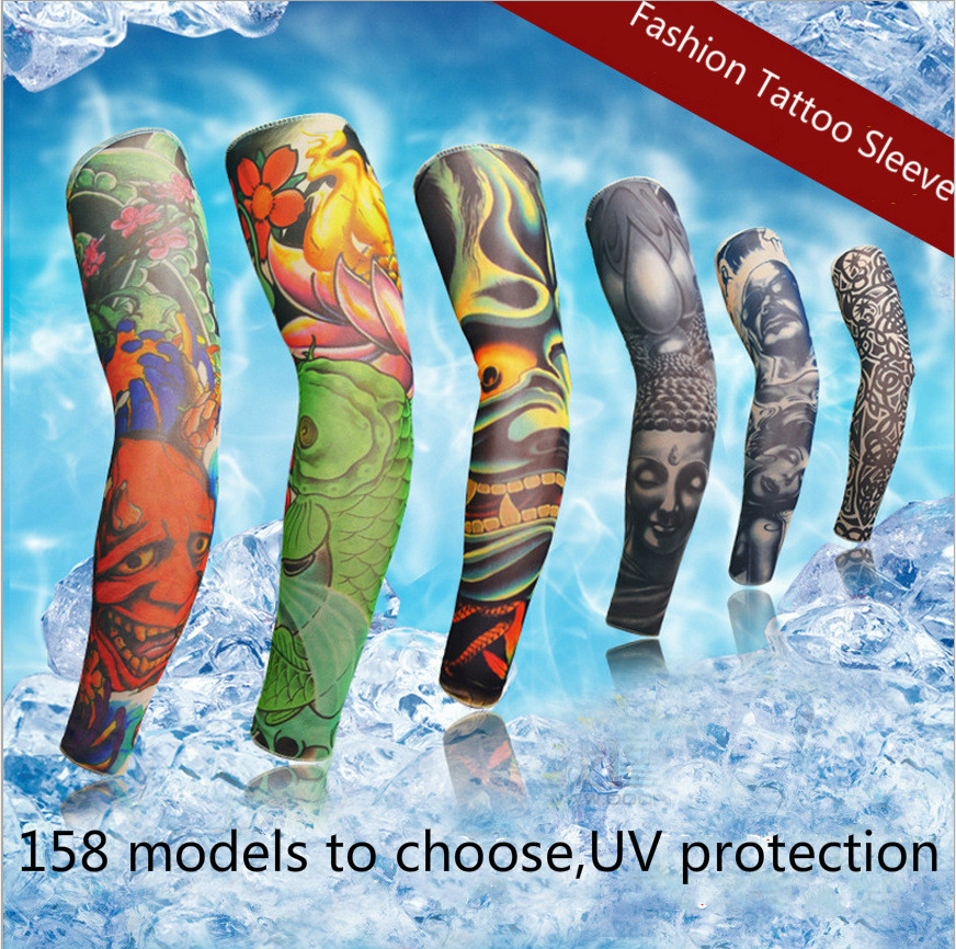 New Tattoo Long Sleeves Fashion Arm Warmer For Skateboard COD CS Game Outdoor Bicycle  Sunscreen Seamless Summer Driving Gloves