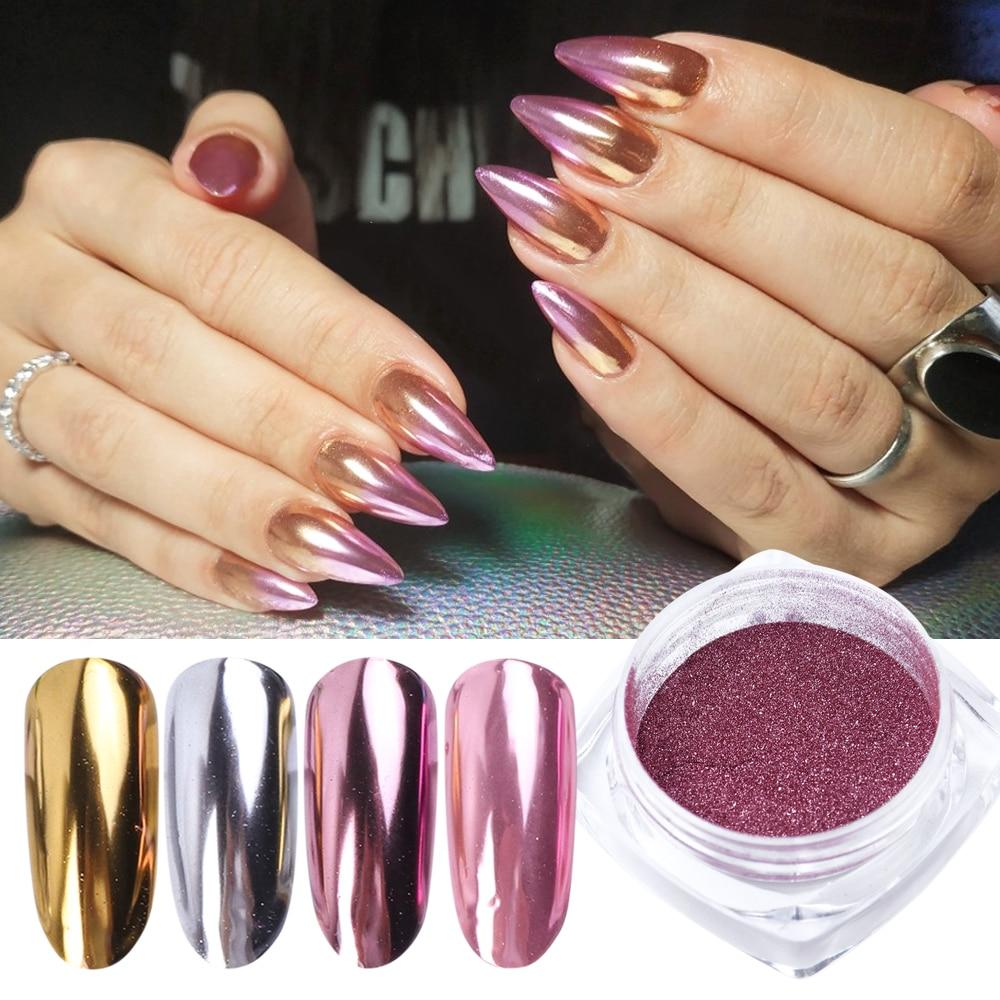 1 box Nail Glitter Mirror Powder Super Shine Chrome Glitter Rose Gold Silver Metallic Dust Manicure Rubbing For Nails LYC/ASX