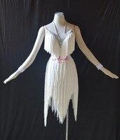 KAKA L1507,Women Dance Wear,White Fringe Latin Dress,Salsa Dress Tango Samba Rumba Chacha Dress,women dress