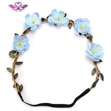 M MISM Beauty Flower Headband Bohemia Floral Hair Bands Women Hair Accessory Headwear Wedding scrunchy Crown Wreath Headdress