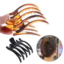 Women Lady Girls Simple Non Slip Grip Large Claw 5 Claws Hair Clip Clamp Black