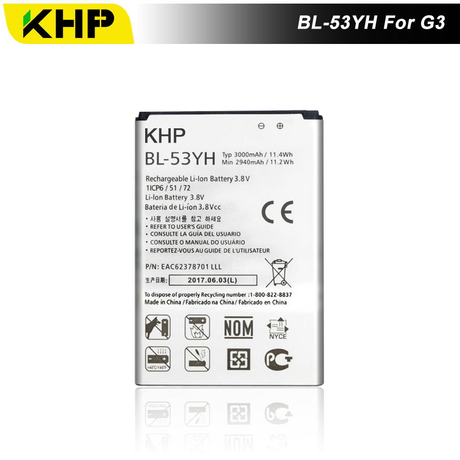 2017 KHP NEW 100% BL-53YH Phone Battery For LG G3 D855 D850 D858 D859 F460 Real 3000mAh High Quality Mobile Replacement Battery