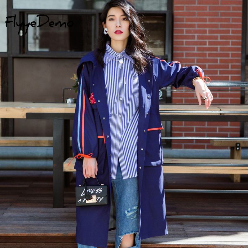Fashion Streetwear Women 2018 Autumn New Brand Woman Blue Single Breasted   Trench   Coat Embroidery Raincoat Outerwear