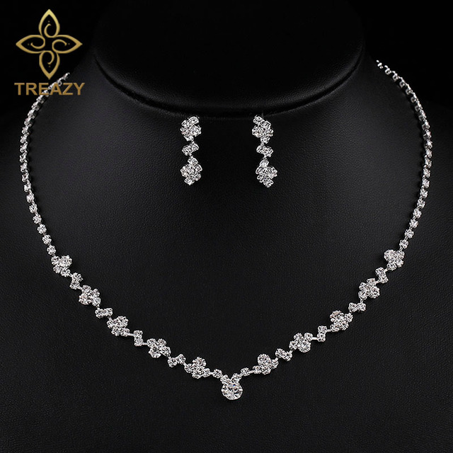 Treazy Simple Geometric Crystal Bridal Jewelry Set For Women Silver