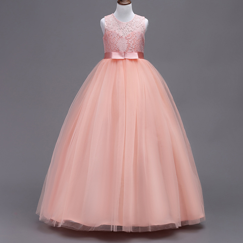 2018 lace ball gown Flower Girl Dress long dress Christmas Tutu Flower Girl Dresses Princess Pageant Wedding Party Dress kid girl princess dress toddler sleeveless dress tutu lace flower bow dresses pageant dress clothes