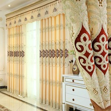 Meijuner Embroidery Curtain Cloth and Tulle Window European Luxurious Style for Living Room Bed A012