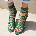 Gladiator Womens Size 11 Heels Sheepskin Sandals Large Size 33 cm-43 cm Summer Black Green Sandy Cross-tied Woman Pumps Sexy