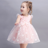 2017 Little Baby Girls Summer Evening Dress Cute Tulle Tutu Fluffy Clothes Flutter Sleeves Party Birthday