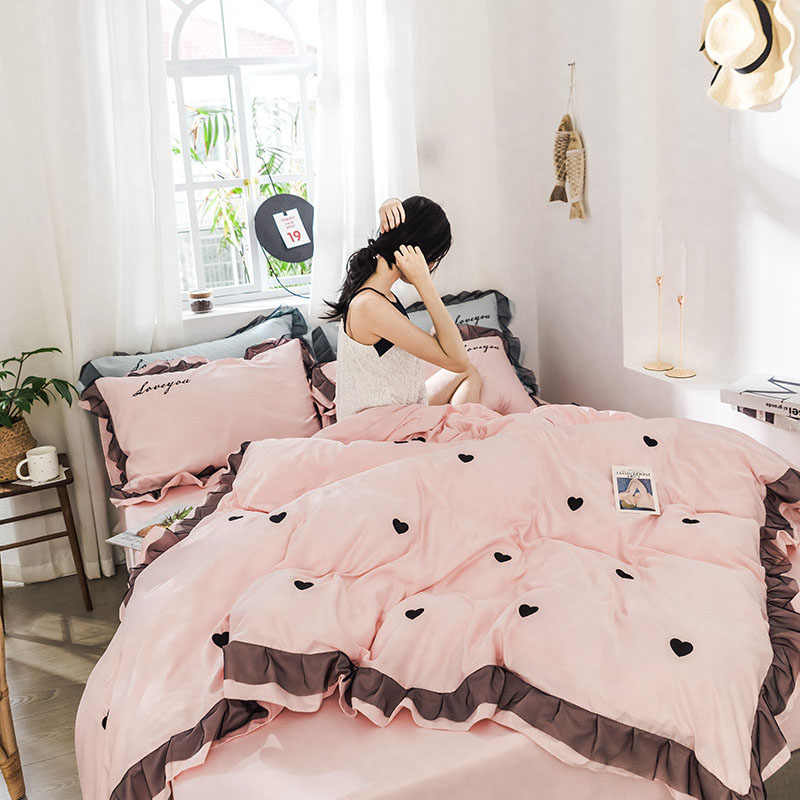 Luxury Style Embroidery Bed Set 3 4pcs Duvet Cover Pillowcase Bed Sheet Lotus Pink Green Wine Red Light Blue Dark Grey  Love