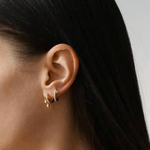 cute simple mini hoop earring gold color two bezel cz charm minimal women girl gift multi piercing fashion delicate jewelry