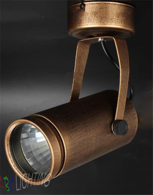 European American retro Vintage brown COB spotlights clothing store cafe bar LED ceiling mounted rail track