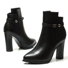 Thick High Heels Women Boots Pointed Toe Zip Genuine Leather Female Boot Autumn Shoes Ladies 2018 New Boots Shoes CH-B0083 цены онлайн
