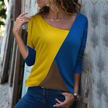 2018 Autumn T Shirt Women Long Sleeve Womens Tops Tee Shirt Women Korean Style T-Shirt Cotton New splice Contrast color Tshirt